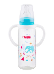 Farlin Pp Standard Neck Feeder Baby Bottle with Handle, 240ml, Blue/Clear
