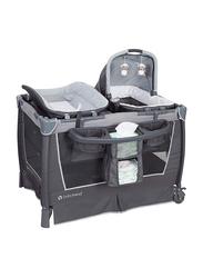 Baby Trend Retreat Nursery Center Play Yard with Bassinet, Robin, Grey/Black
