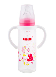 Farlin Pp Standard Neck Feeder Baby Bottle with Handle for Girls, 240ml, Pink/Clear