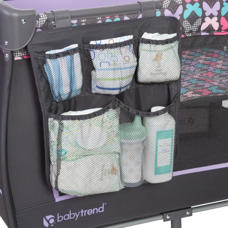 Baby Trend Trend-E Nursery Center Play Yard with Bassinet, Sophia, Purple/Black
