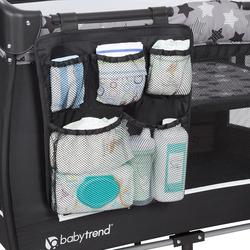 Baby Trend Trend-E Nursery Center Play Yard with Bassinet, Rising Star, Grey/Black