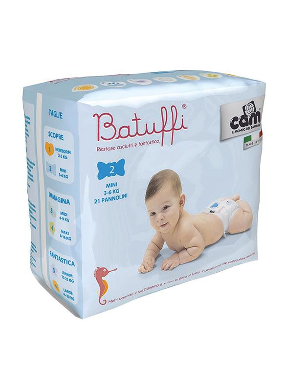 Cam Batuffi Diapers, Size 2, Infant, 3-6 kg, Mini, 21 Count