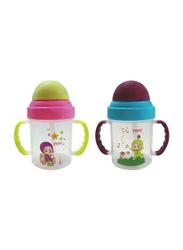 Farlin Non-Spill Straw Magic Cup Set, 2-Pieces, Green/Purple
