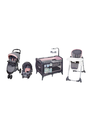 Baby Trend Trend-E Nursery + Skyline 35 Travel System + Dine Time 3-in-1 High Chair Set, Starlight Pink