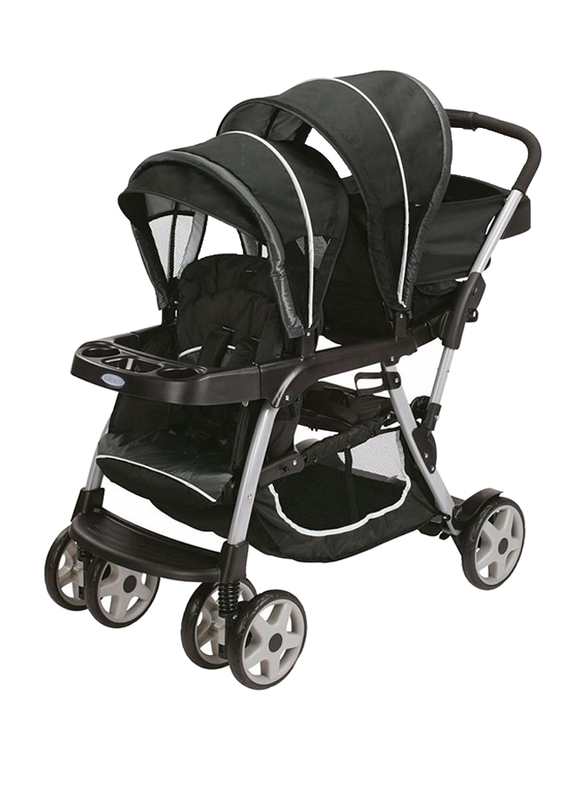 Graco Ready2Grow Click Connect LX Double Baby Stroller, Gotham, Black