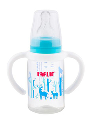 Farlin Pp Standard Neck Feeder Baby Bottle with Handle, 140ml, Blue/Clear