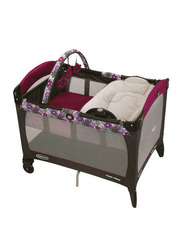 Graco Pack N Play Reversible Napper & Changer Playard LX Portia for Baby, Brown/Red