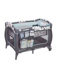 Baby Trend Trend-E Nursery Center Play Yard with Bassinet, Doodle, Green/Black