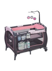 Baby Trend Trend-E Nursery Center Play Yard with Bassinet, April, Pink/Brown/Black