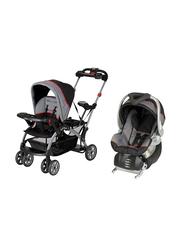 Baby Trend Sit N Stand Ultra Stroller + Flex-Loc Infant Car Seat Set, Millenium, Black/Grey/Red