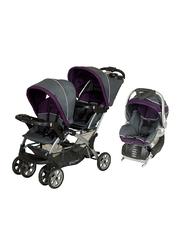 Baby Trend Sit N Stand Double Stroller + Flex-Loc Infant Car Seat Set, Elixer, Purple/Grey