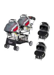 Baby Trend Snap N Go Double Car Seat Carrier + 2-Piece Flex-Loc Infant Car Seat Set, Onyx, Black