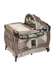 Baby Trend Deluxe Nursery Center Play Yard with Bassinet, Haven Wood, Brown/Grey