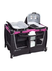 Baby Trend Retreat Nursery Center Play Yard with Bassinet, Mulberry, Pink/Black