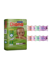 Diana Baby Diaper Bundle with Bebiko 8-Pack Pocket Wet Baby Wipes, Size 2, Mini, 3-6 kg, 44 Count
