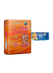 Diana Baby Diaper Bundle with Good Baby Wipes, Size 4, Maxi, 8-19 kg, 20 Count