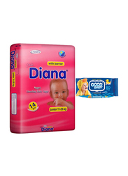 Diana Baby Diaper Bundle with Good Baby Wipes, Size 5, Junior 11-25 kg, 14 Count