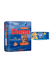 Diana Baby Diaper Bundle with Good Baby Wipes, Size 3, Midi, 5-9 kg, 22 Count