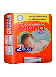 Diana Baby Diaper, Size 2, Mini-S, 3-6 kg, 15 Count