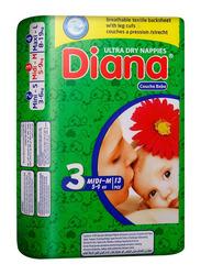 Diana Baby Diaper, Size 3, Midi-M, 5-9 kg, 13 Count