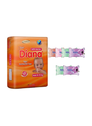 Diana Baby Diaper Bundle with Bebiko 6-Pack Pocket Wet Baby Wipes, Size 4, Maxi, 8-19 kg, 20 Count