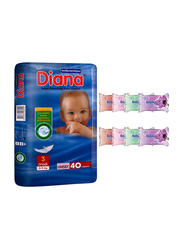 Diana Baby Diaper Bundle with Bebiko 8-Pack Pocket Wet Baby Wipes, Size 3, Midi, 5-9 kg, 40 Count