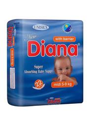 Diana Baby Diaper, Size 3, Midi, 5-9 kg, 22 Count