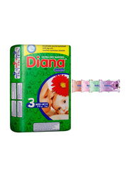 Diana Baby Diaper Bundle with Bebiko 4-Pack Pocket Wet Baby Wipes, Size 3, Midi-M, 5-9 kg, 13 Count