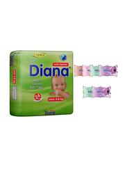 Diana Baby Diaper Bundle with Bebiko 6-Pack Pocket Wet Baby Wipes, Size 2, Mini, 3-6 kg, 24 Count