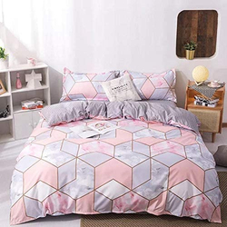 Deals For Less 6-Piece Nice Geometric Design Bedding Set, 1 Duvet Cover + 1 Flat Bedsheet + 4 Pillow Covers, Pink/Orange, Queen/Double