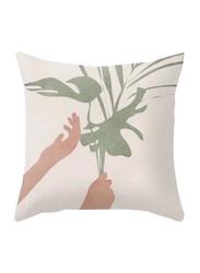 Deals for Less Leaves & Hands Design Decorative Cushion Cover, Multicolour