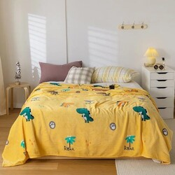 Deals for Less Dinosaur Design Soft Fleece Blanket, Yellow, Double