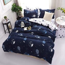Deals For Less 6-Piece Galaxy Design Bedding Set, 1 Duvet Cover + 1 Fitted Sheet + 4 Pillow Covers, White/Blue, King