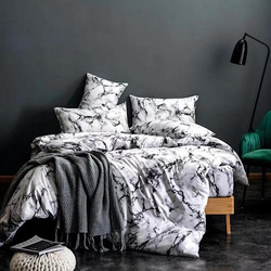 Deals For Less 4-Piece Marble Design Bedding Set, 1 Duvet Cover + 1 Fitted Bedsheet + 2 Pillow Covers, White/Black, Single