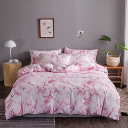 Deals For Less 4-Pieces Marble Design Bedding Set, 1 Duvet Cover + 1 Fitted Bedsheet + 2 Pillow Covers, Pink/White, Single