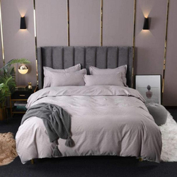 Deals For Less 6-Piece Plain Bedding Set, 1 Duvet Cover + 1 Fitted Bedsheet + 4 Pillow Covers, Grey, King