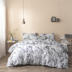 Deals For Less 6-Piece Marble Design Bedding Set, 1 Duvet Cover + 1 Fitted Bedsheet + 4 Pillow Covers, White, King