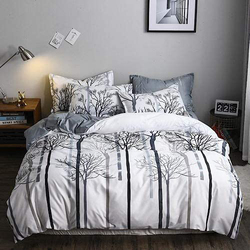 Deals For Less 6-Piece Trees Design Bedding Set, 1 Duvet Cover + 1 Fitted Bedsheet + 4 Pillow Covers, White, King