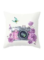 Deals for Less Camera & Flower Design Decorative Cushion Cover, Purple/Grey/White