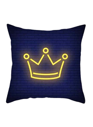 Deals for Less Crown Design Decorative Cushion Cover, Blue/Yellow