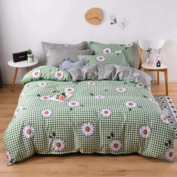 Deals For Less 6-Piece Chamomile Design Bedding Set, 1 Duvet Cover + 1 Flat Bedsheet + 4 Pillow Covers, Green, Queen/Double