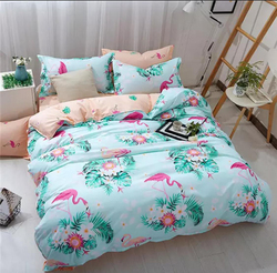 Deals For Less 4-Piece Flamingo Design Bedding Set, 1 Duvet Cover + 1 Fitted Bedsheet + 2 Pillow Covers, Blue/Peach, Single