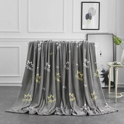 Deals for Less Crown Design Soft Fleece Blanket, Grey, Double