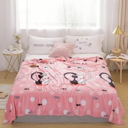 Deals for Less Cute Cat Design Soft Fleece Blanket, Pink, Double