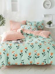 Deals For Less 6-Piece Cute Flower Design Bedding Set, 1 Duvet Cover + 1 Flat Bedsheet + 4 Pillow Covers, Orange/Green, Double/Queen