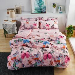 Deals For Less 6-Piece Butterfly Design Bedding Set, 1 Duvet Cover + 1 Fitted Sheet + 4 Pillow Covers, Pink, King