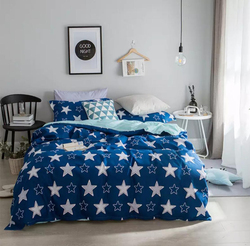 Deals For Less 6-Piece White Star Design Bedding Set, 1 Duvet Cover + 1 Fitted Bedsheet + 4 Pillow Covers, White/Blue, King