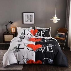 Deals For Less 6-Piece Love Design Bedding Set, 1 Duvet Cover + 1 Flat Bedsheet + 4 Pillow Covers, Black/White/Red, Double/Queen