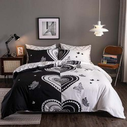 Deals For Less 6-Piece Hearts Design Bedding Set, 1 Duvet Cover + 1 Flat Bedsheet + 4 Pillow Covers, Black/White, Double/Queen