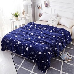 Deals for Less Stars Design Soft Fleece Blanket, Blue/White, Double